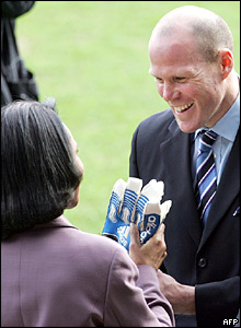 Condoleezza Rice with Blackburn's American goalkeeper Brad Friedel