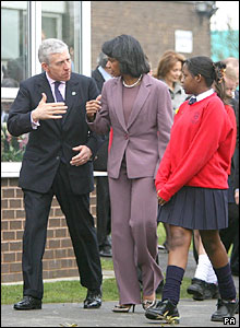 Condoleezza Rice and Jack Straw at Pleckgate High School in Blackburn