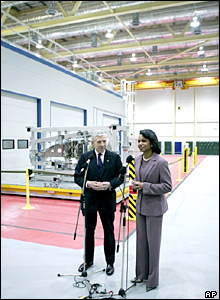 Jack Straw and Condoleezza Rice at the home of defence group BAE Systems, near Blackburn