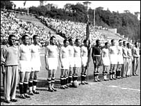 Italy line up before the World Cup final in Rome