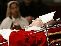 Pope John Paul lying in state
