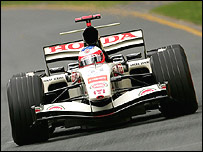 Rubens Barrichello in his Honda at the Australian Grand Prix