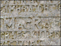 Inscription on the monument