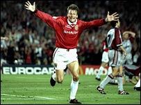 Sheringham in the 1999 Champions League final