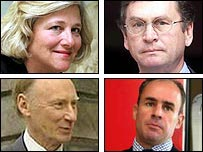 Clockwise from top left: Dame Vivien Duffield, Lord Ashcroft, Johan Eliasch, Lord Laidlaw