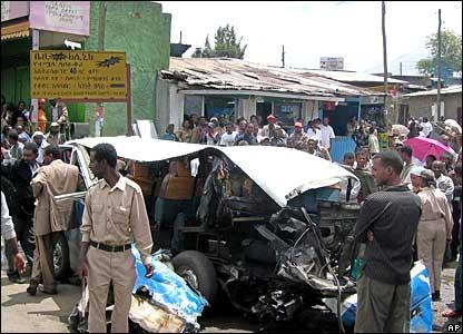 The scene of a bomb blast in Addis Ababa, Ethiopia.