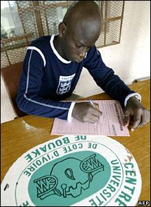 A student at Bouake University, Ivory Coast.