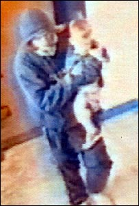 CCTV image of the man leaving the child at Otford railway station