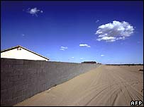 Wall separating the border between Mexico and the US near San Luis, Arizona
