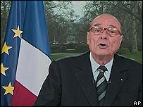 French President Jacques Chirac delivers his address