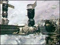 The Soyuz rocket docked with the International Space Station