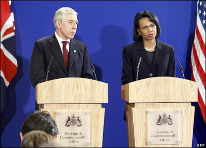 Jack Straw and Condoleezza Rice answer questions at Blackburn Town Hall