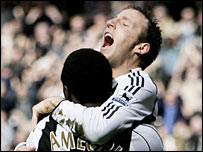 Lee Bowyer celebrates putting Newcastle ahead