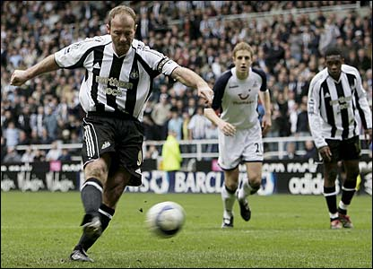 Alan Shearer scores from the penalty spot