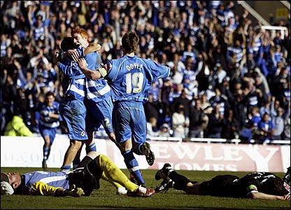 Reading players celebrate another goal