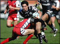 Brive's Damien Chouly takes the ball into contact