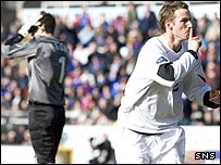 Steve Lovell celebrates his late winner at Inverness