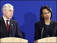 Jack Straw and Condoleezza Rice in Blackburn, England