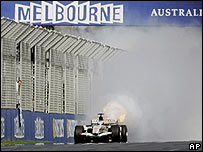 Jenson Button's Honda suffers engine failure on the last lap in Melbourne