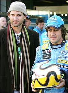 Hollywood actor Eric Bana and Fernando Alonso