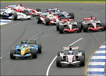 The first corner of the Australian Grand Prix