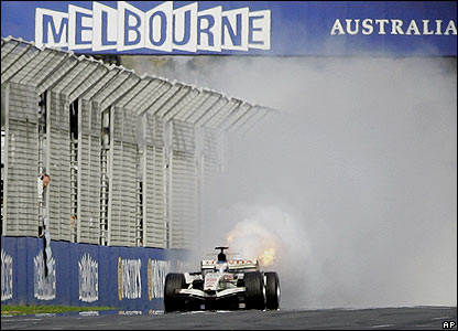 Jenson Button drops from fifth to 10th as his engine explodes on the final lap