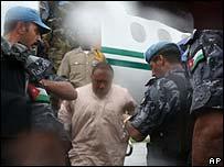 Charles Taylor arrives in custody in Monrovia, Liberia
