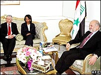Jack Straw, Condoleezza Rice and Ibrahim Jaafari in Baghdad