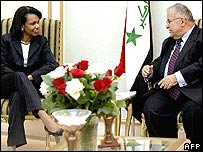 Condoleezza Rice and Jalal Talabani