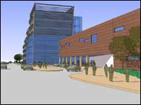 Artist's impression of the new civic centre ¿ incorporating a health centre ¿ showing the proposed entrance to the new Town Square.