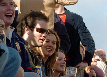 Fans watch the 152nd Boat Race