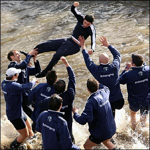 Oxford cox Sebastian Pearce is thrown into the river