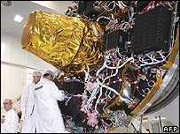 A satellite being built at Alcatel