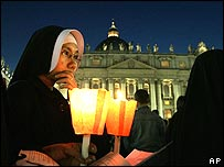 Nuns at the prayer vigil at St Peter's Square
