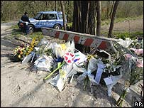 Flowers and tributes are left near the spot where Tommaso's body was found