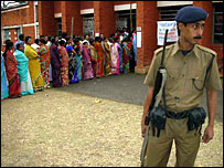 Police outside Assam polling booth