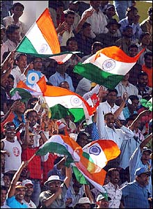 The passionate Indian fans celebrate