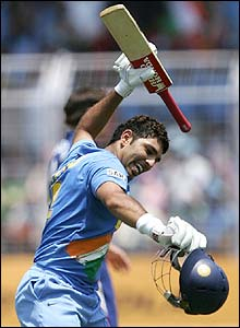 Yuvraj celebrates reaching his hundred
