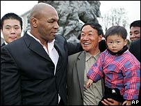 Mike Tyson meets Chinese people in Shanghai