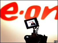 A camera monitor shows E.On boss Ulf Bernotat