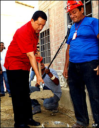 President Chavez launching one of his government's social initiatives