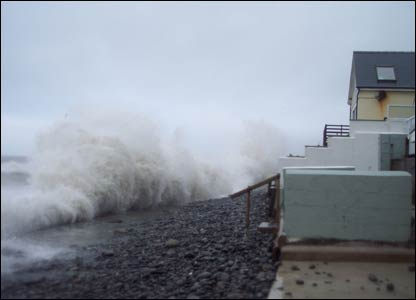 High tide in Borth, as sent in by Ashley Castree