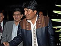 Evo Morales arriving in Belo Horizonte, Brazil