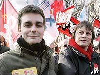 Unef leader Bruno Julliard (left) and CGT leader Bernard Thibault