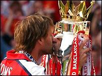 Arsenal captain celebrates winning the Premiership in 1998