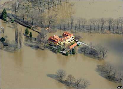A house surrendered by the swollen Elbe River south-east of Dresden, Germany