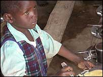 Child at feeding centre