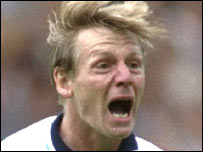 Stuart Pearce celebrates scoring penalty at Euro 96