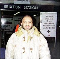 Zacarias Moussaoui outside Brixton underground station 