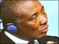 Television grab showing Charles Taylor at the hearing in Freetown, Sierra Leone